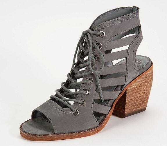 Vince Camuto Nubuck Lace-Up Heeled Sandals Chesten Smoke Stack - A