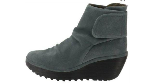 FLY London Suede Ruched Ankle Boots Yegi Iron Suede - NEW