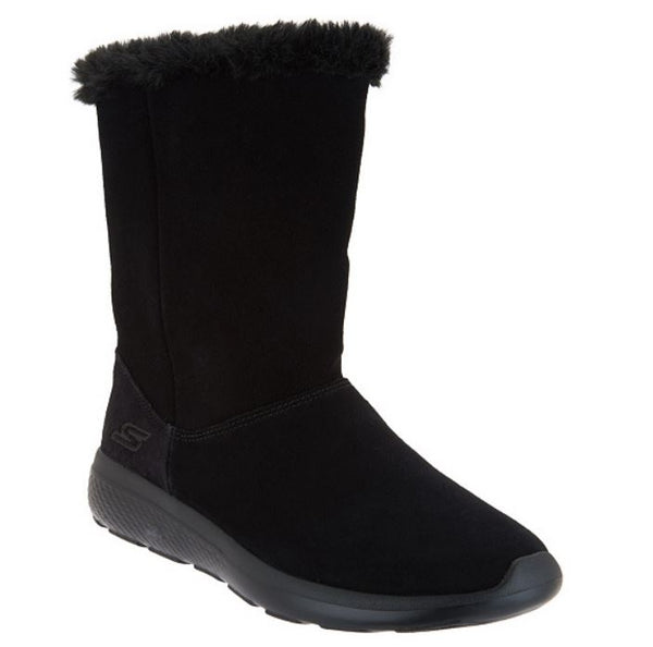 Skechers GOwalk Suede and Faux Fur Boots Stunning Black - NEW