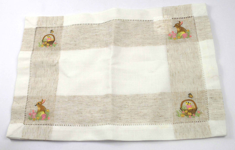 Charles Gallen Woven Placemats with Embroidery Easter - Set of 4 - NEW