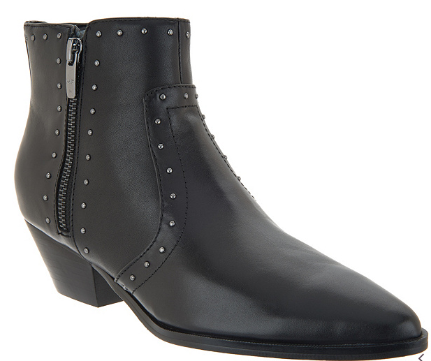 Marc Fisher Leather Western Detailed Ankle Boots Wanida Black - NEW