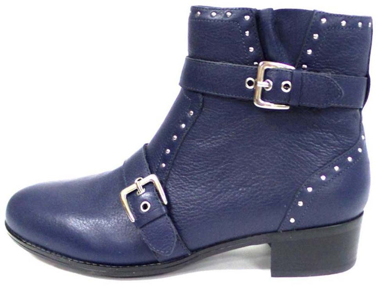 Isaac Mizrahi Live! Leather Bootie w/ Buckle and Stud Detail Navy - NEW