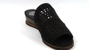 Vince Camuto Leather Wedge Slide Sandals Rallema Black - NEW