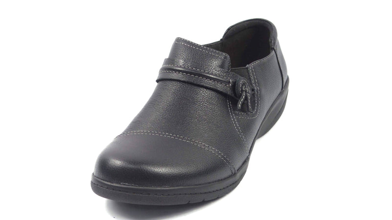 Clarks Collection Leather Slip-on Shoes Cheyn Madi Black - NEW