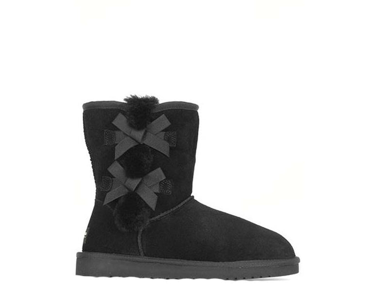 Koolaburra by UGG Suede Bow Short Boots Victoria Black - NEW