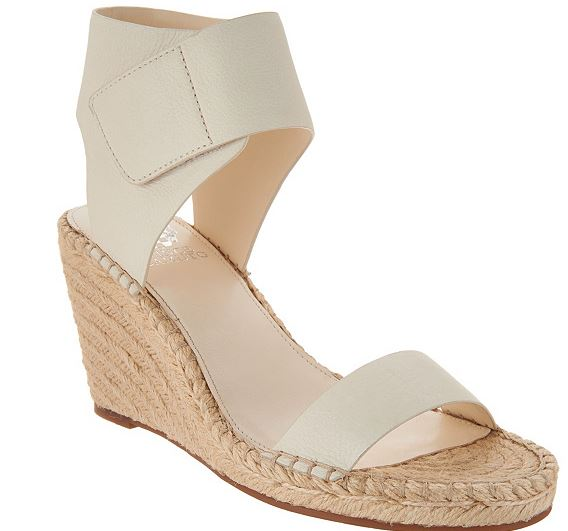 Vince Camuto Leather Ankle Strap Espadrilles Levista Vanilla - NEW
