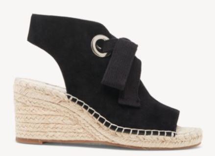 Sole Society Suede Lace-Up Wedges Cambrine Black - NEW