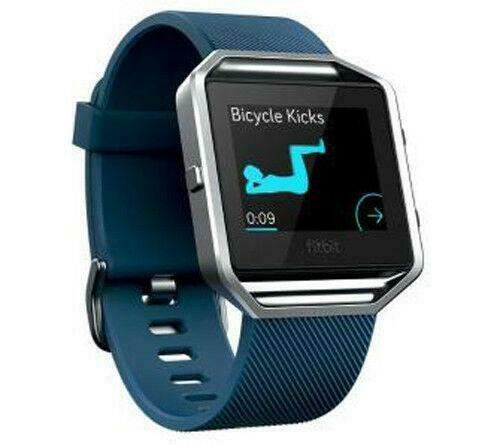 Fitbit Blaze Smart Fitness Tracker Heart Rate Monitor Small Blue FB502SBUS - A