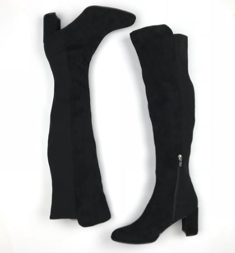 Marc Fisher Faux Suede Over-the-Knee Boots Loran Black - NEW