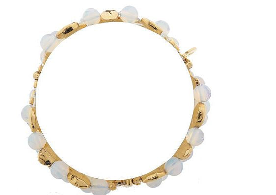 Francesca Visconti's Simulated Moonstone Bead Stretch Goldtone Bracelet J33149 - NEW