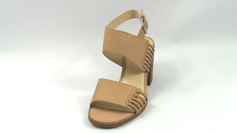 Vince Camuto Leather Two-Piece Heeled Sandals Karmelo Forever Beauty - NEW