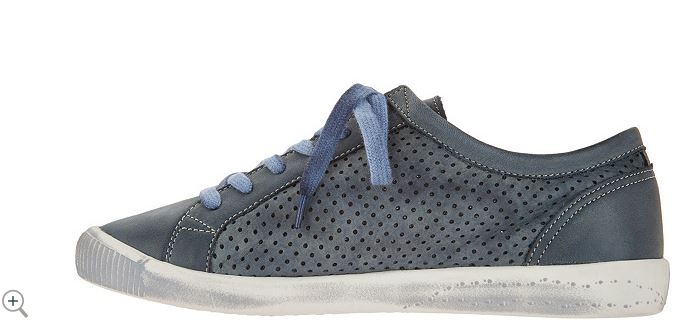 Softinos by FLY London Leather Lace Up Sneakers Navy - A