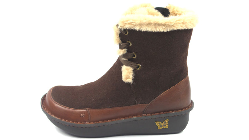 Alegria Leather Lace-up Boots with Faux Fur Twisp Hazelnut Wool - NEW