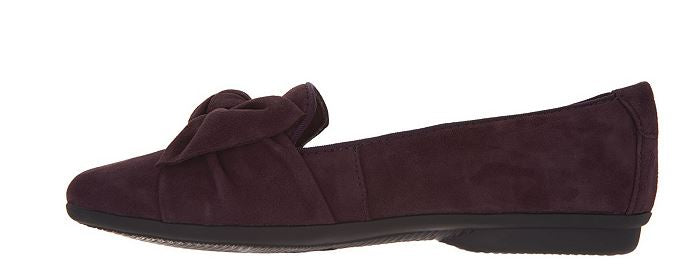 Clarks Collection Bow Detailed Flats Gracelin Jonas Aubergine Suede - A