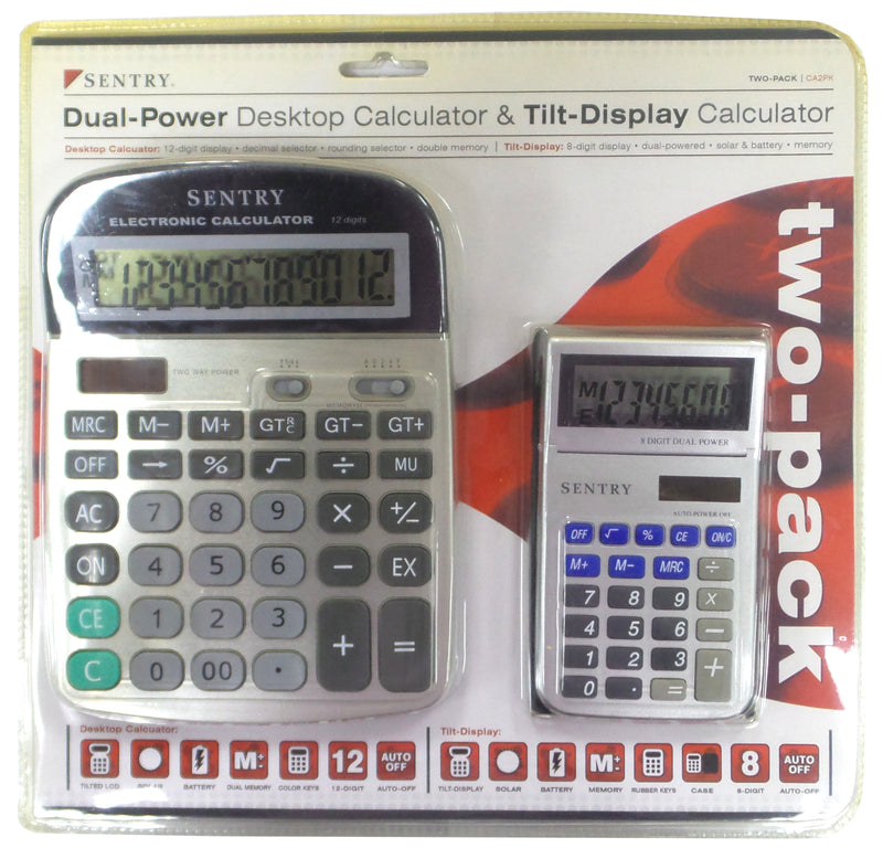 Sentry Two Pack Dual-Power Desktop Calculator and Tilt-Display Calculator
