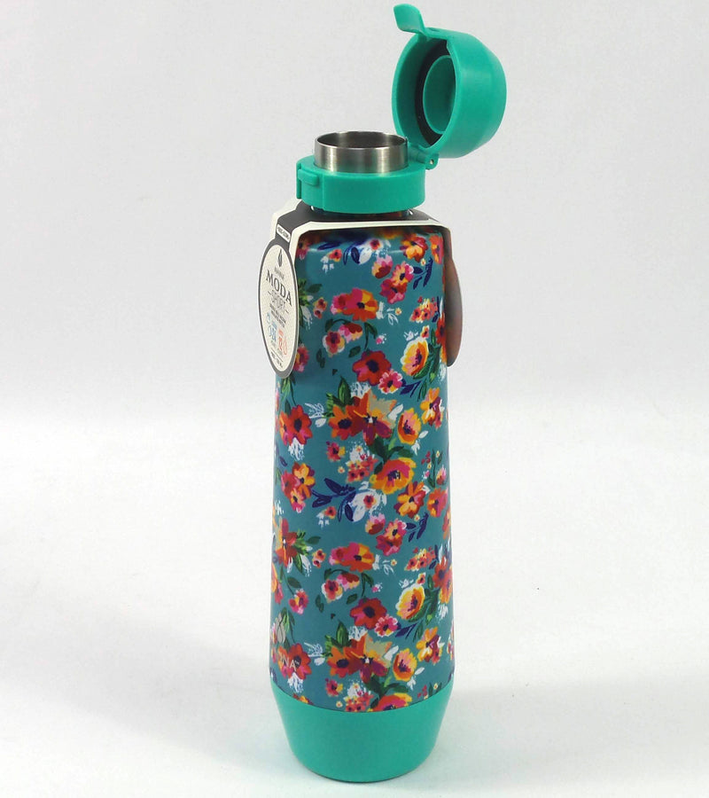 Manna Moda Sport 18-oz Bottles with Flip-Top Lids Mint/Floral-Set of 2 - NEW
