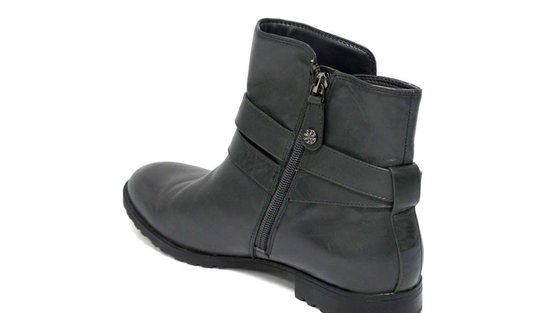 Isaac Mizrahi Live Leather Ankle Boots w/ Strap Detail Gray - A