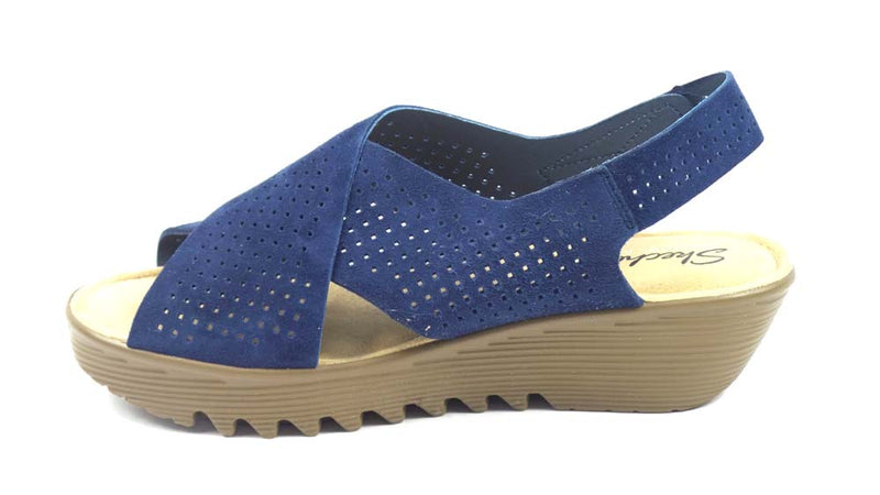 Skechers Perforated Suede Slingback Demi-Wedges Navy - A