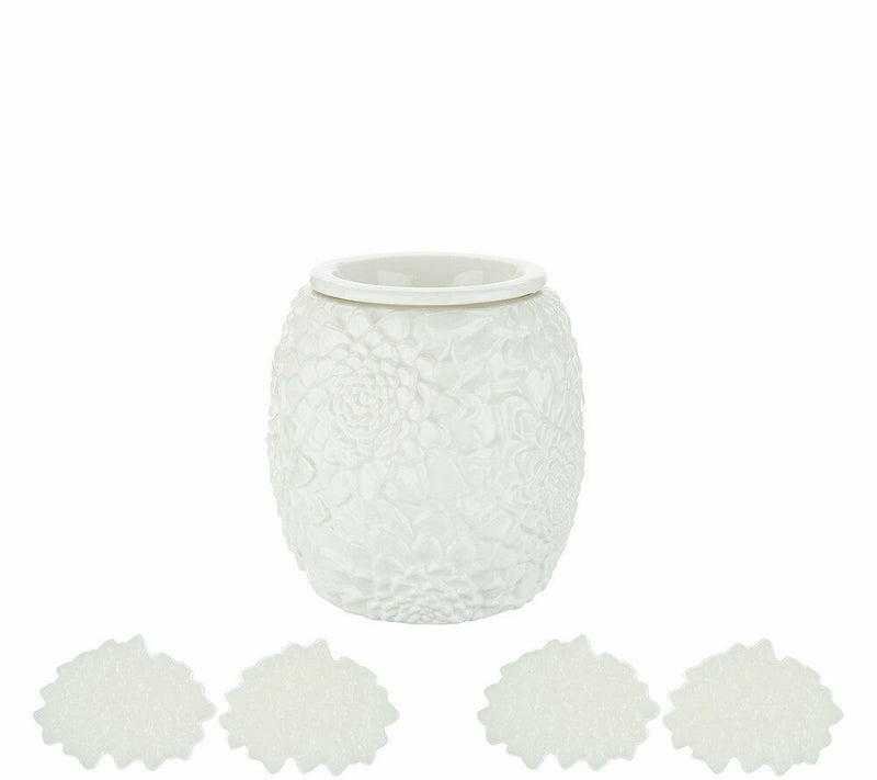 HomeWorx by Harry Slatkin Floral Warmer with 4 Meltables White - A