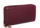 Karla Hanson Women's Zip-Around Leather Wallet Burgundy - NEW