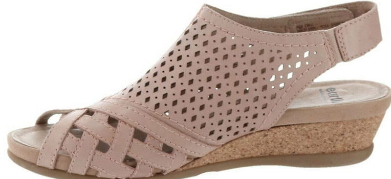 Earth Leather Perforated Wedge Sandals Pisa Galli Dusty Pink - A