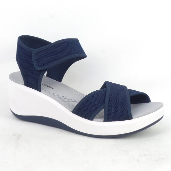 CLOUDSTEPPERS by Clarks Wedge Sport Sandals Step Cali Skye Navy - NEW