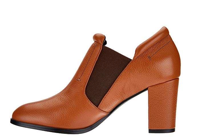 H by Halston Leather Ankle Boot with Block Heel Kandice Sienna Brown - NEW