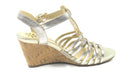Isaac Mizrahi Leather Fisherman Wedge Sandals Pale Gold - A