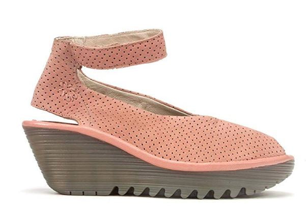 FLY London Perforated Leather Wedge Sandals Yala Perf Rose - A