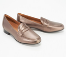Clark's Unstructured Slip On Penny Loafers Un Blush Go Metallic - NEW
