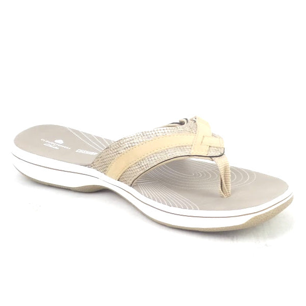 CLOUDSTEPPERS by Clarks Sport Thong Sandals Breeze Sea Snake Brown - NEW