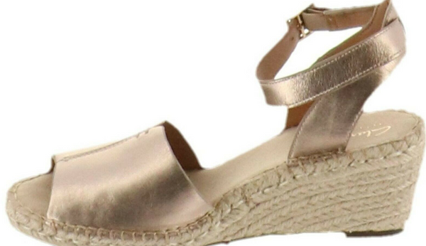 Clarks Artisan Leather Espadrille Wedge Sandals Petrina Selm Metallic - NEW