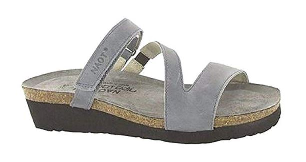 Naot Leather Asymmetrical Strapped Slide Sandals Gabriela Slate - NEW