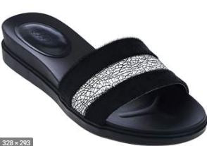 LOGO by Lori Goldstein Mesh Detail Footbed Sandals Black - NEW