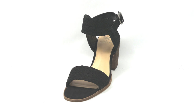Vince Camuto Leather Block Heel Sandals Kolema Black - NEW
