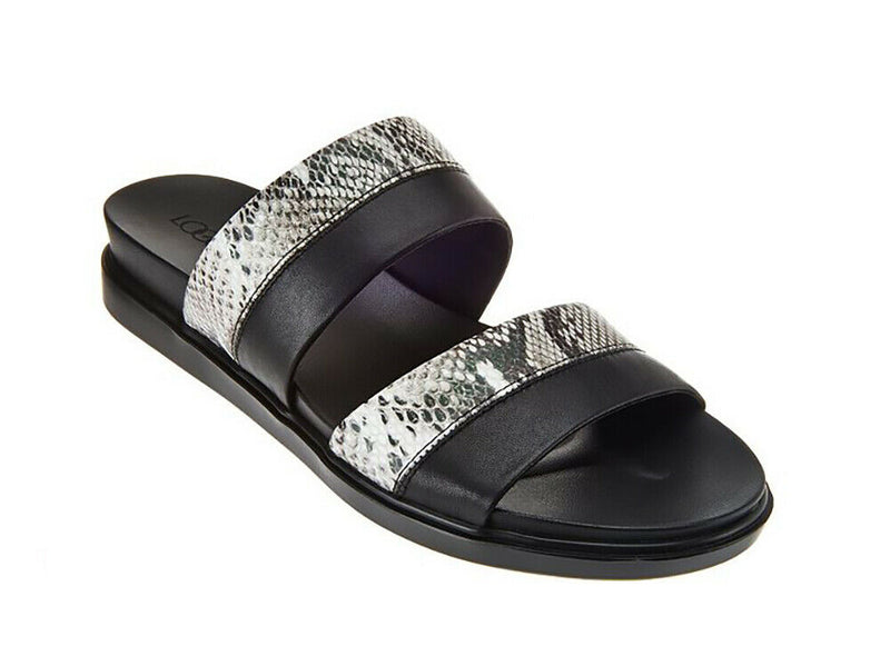 LOGO by Lori Goldstein Two Toned Mixed Media Strap Sandals Black - NEW