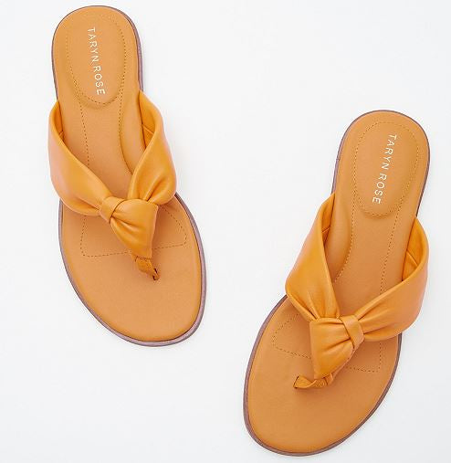 Taryn Rose Leather Knotted Thong Sandals Karissa Marigold - NEW