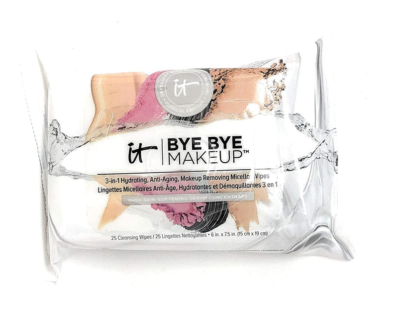 IT Cosmetics Bye Bye 3-in-1 Hydrating Makeup Removing Wipes 25-count - NEW