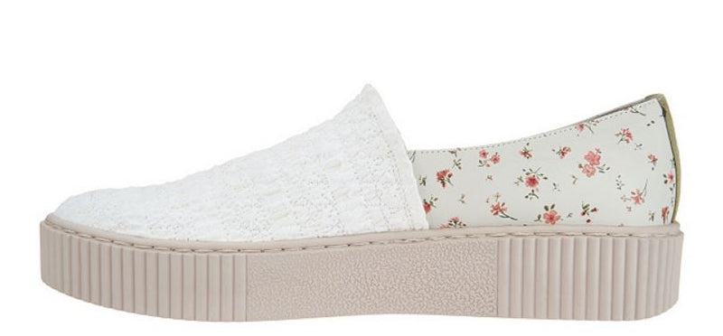 Lori Goldstein Collection Slip-On Sneaker with Smocking White Birch - A