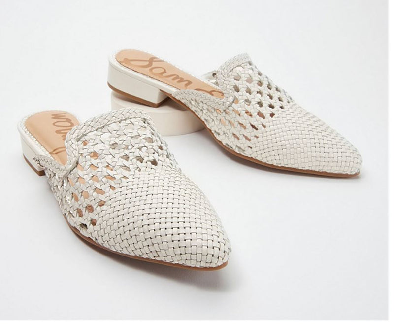 Sam Edelman Woven Leather Mules Clara White - NEW