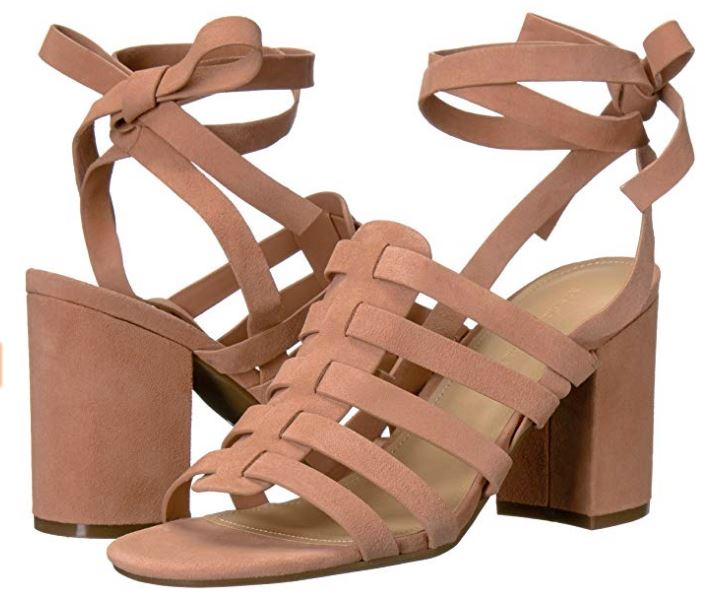 Marc Fisher Suede Ankle Wrap Sandals Pheobe Blush - A