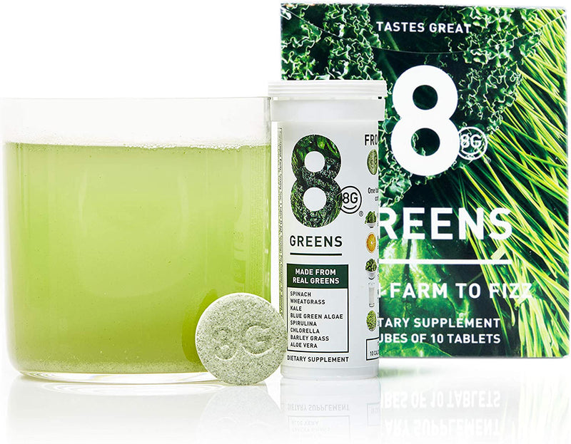 8Greens Effervescent Drink Tablets 40 Count - NEW