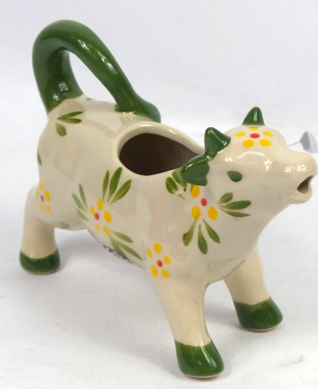 Temp-tations Floral Lace Cow Figural Creamer Green - NEW