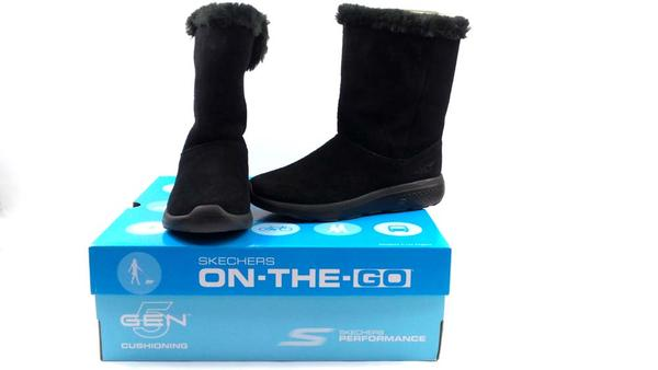 Skechers GOwalk Suede and Faux Fur Boots Stunning Black - A