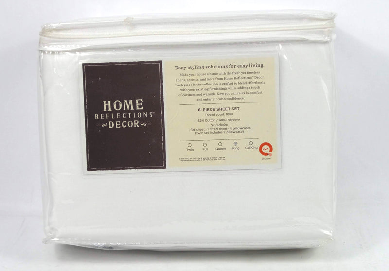 Home Reflections 1000TC Easy Care Sheet Set White - NEW