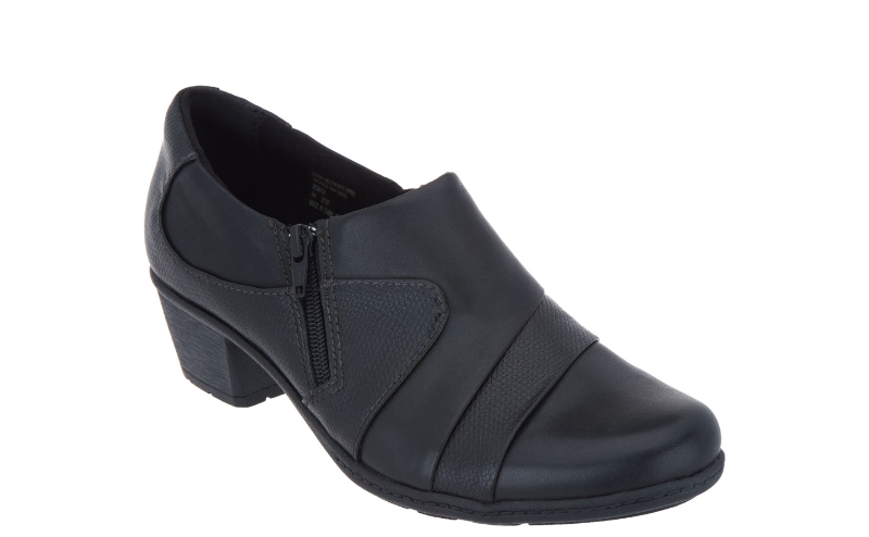 Earth Origins Leather Side Zip Shooties Monica Black - NEW