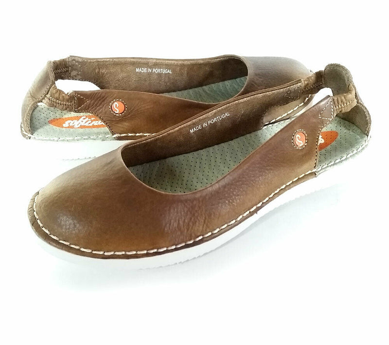 Softinos by FLY London Leather Slip-on Sandals Brown - NEW
