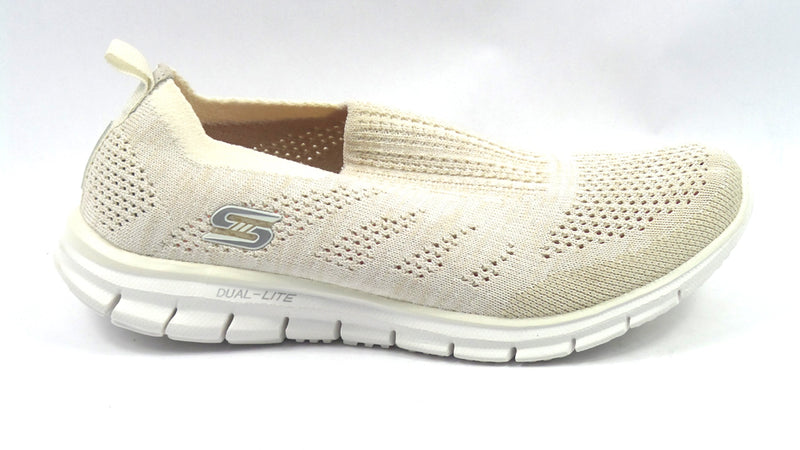 Skechers Flat Knit Slip-On Sneakers Stunner White - NEW