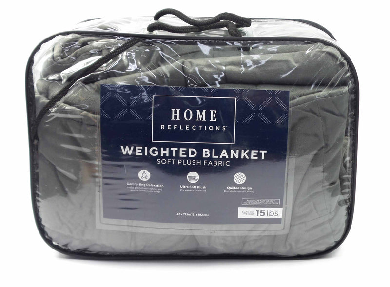 "Home Reflections 15lb  48"" x 72"" Quilted Weighted Blanket Grey - NEW"