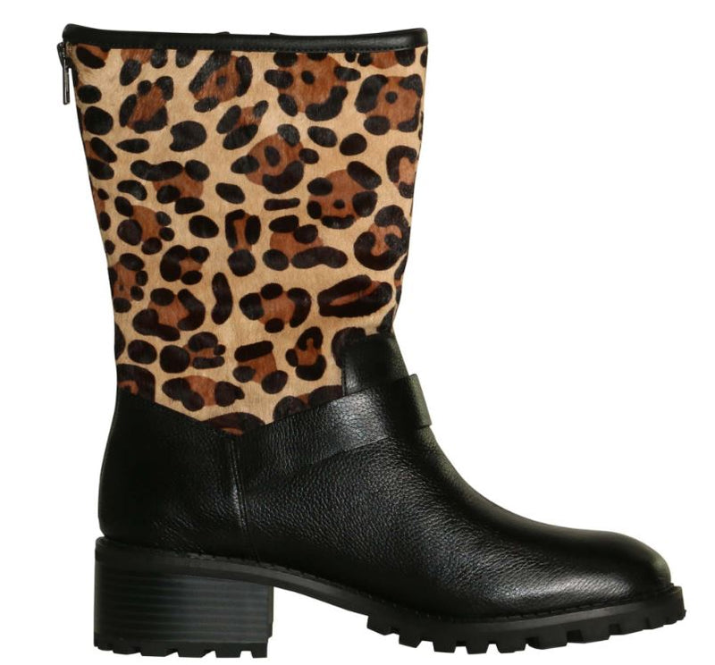 LOGO by Lori Goldstein Short Shaft Novelty Moto Boots Black/Leopard - NEW